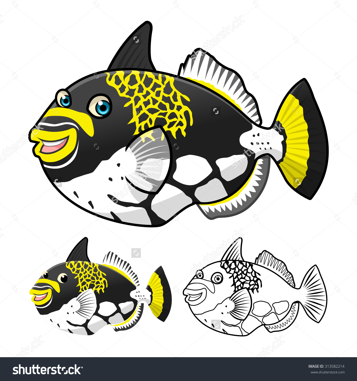 Triggerfish clipart.