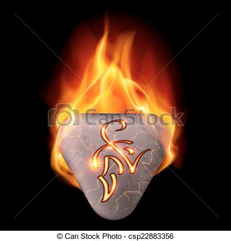 Clipart Vector of Burning stone with magic rune.