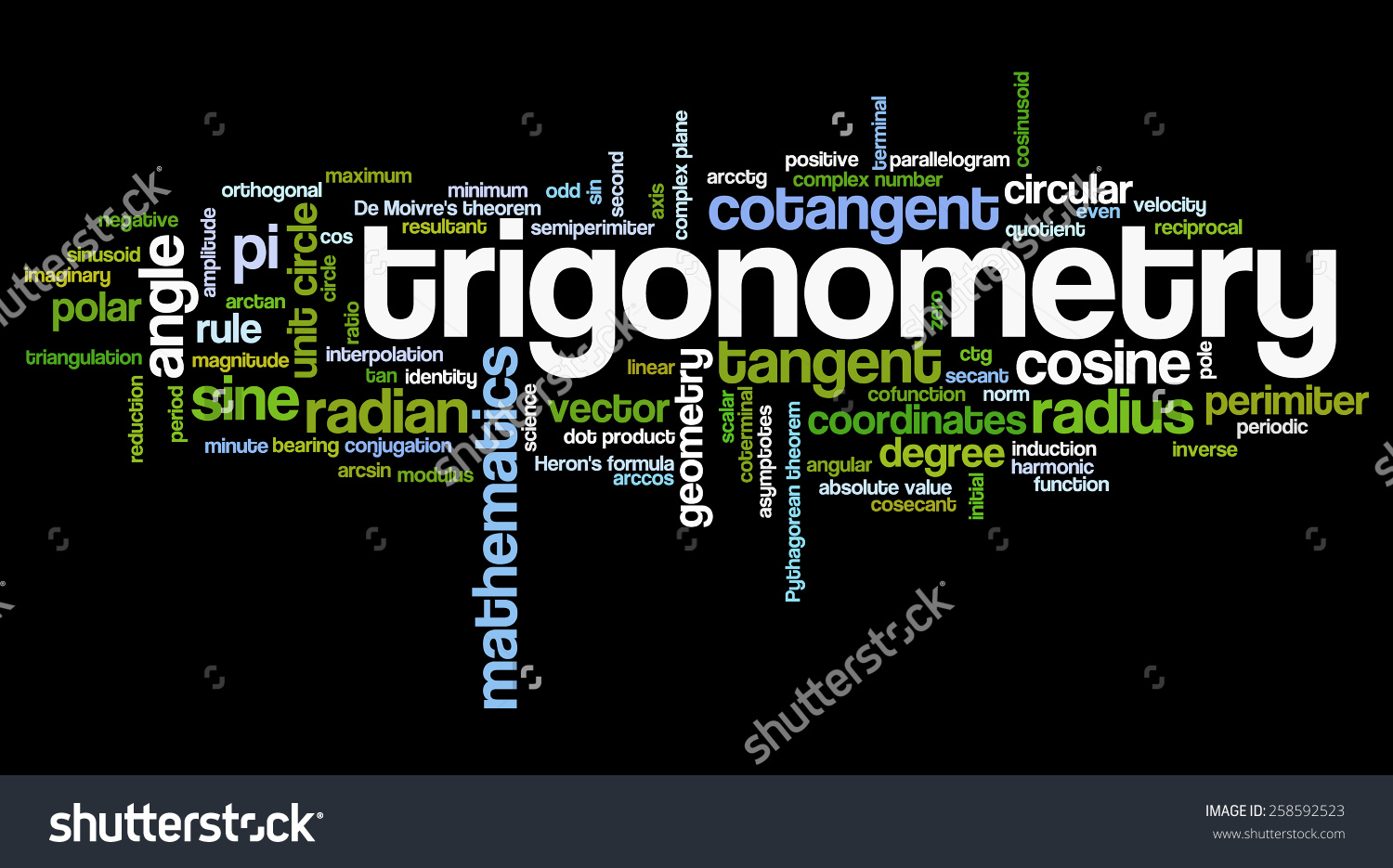 Word Cloud Words Related Trigonometry Math Stock Vector 258592523.