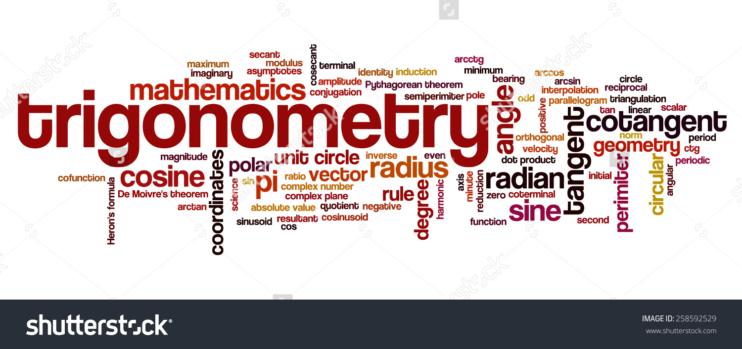 Word Cloud Words Related Trigonometry Math Stock Vector 258592529.