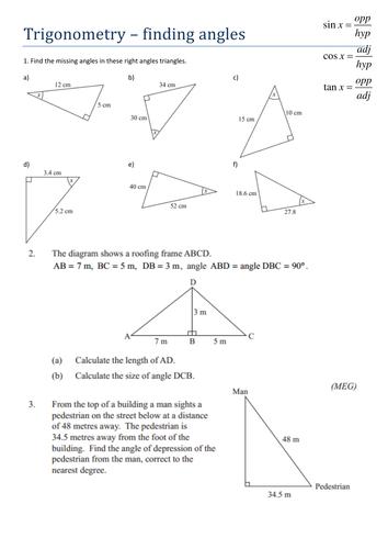 trigonometry worksheets clipground. Black Bedroom Furniture Sets. Home Design Ideas