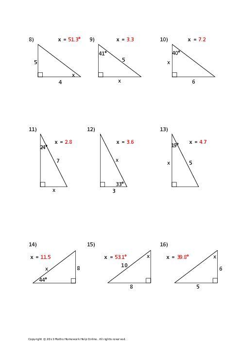 Trigonometry Worksheets Clipground