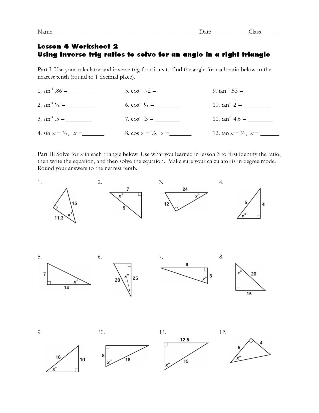 trigonometry worksheets clipground. Black Bedroom Furniture Sets. Home Design Ideas