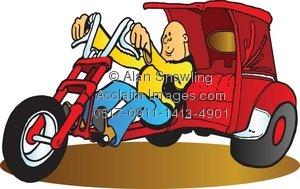 Clipart Illustration of Custom Trike.