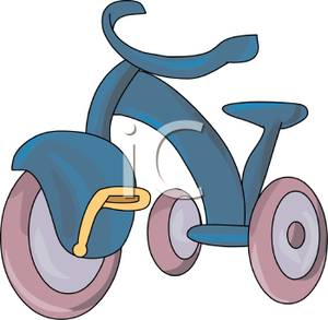 Blue Trike with Pink Wheels Clipart Picture.