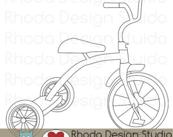 Retro Tricycle Digital Clip Art Vin Tage Bicycles Stamps Trike.