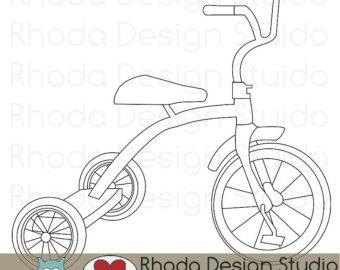 Retro Tricycle Digital Clip Art Vin Tage Bicycles Stamps Trike.