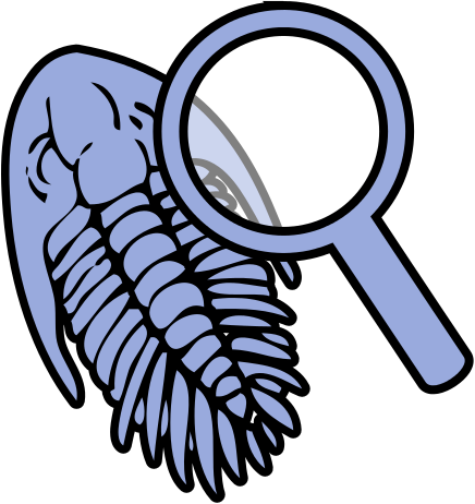 File:Trilobite under magnifying glass icon.svg.