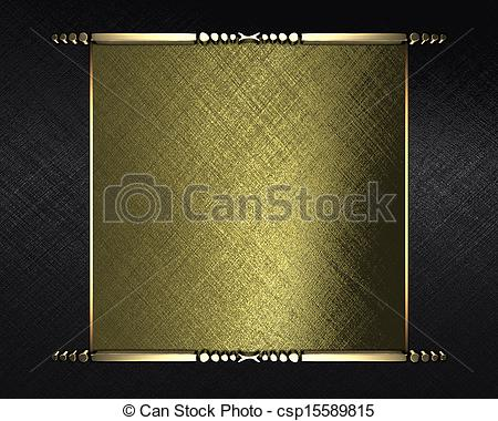 Clipart of Black texture with gold name plate for text and gold.