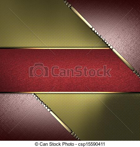 Clipart of Gold texture with brown edges and gold trim with red.
