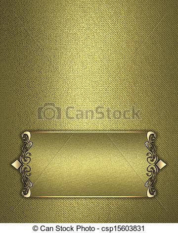 Drawings of Golden texture with gold name plate with gold trim.