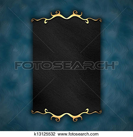 Clip Art of Blue Background with Black plate and gold trim.