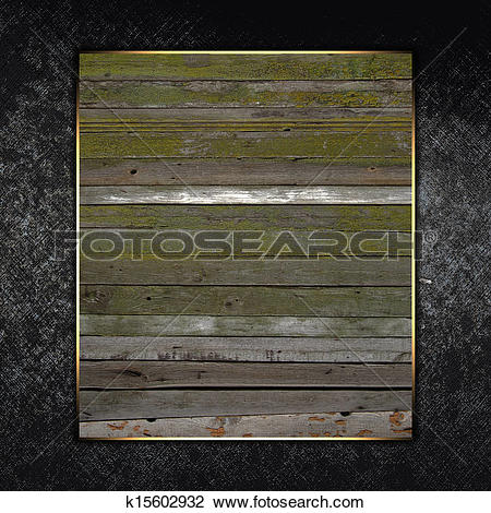 Clip Art of Tempalate of wood plate with gold trim on grunge.