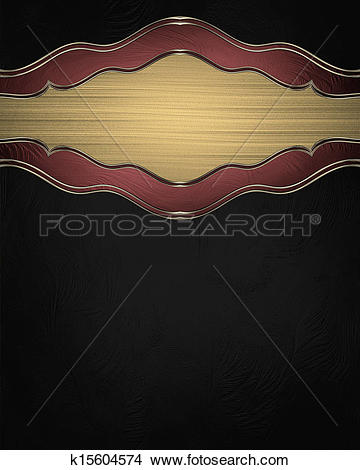 Drawings of Black background with gold plate with red trim. Design.