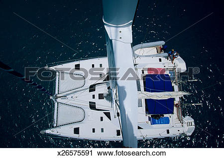 Stock Photography of Trimaran sailing, aerial view x26575591.