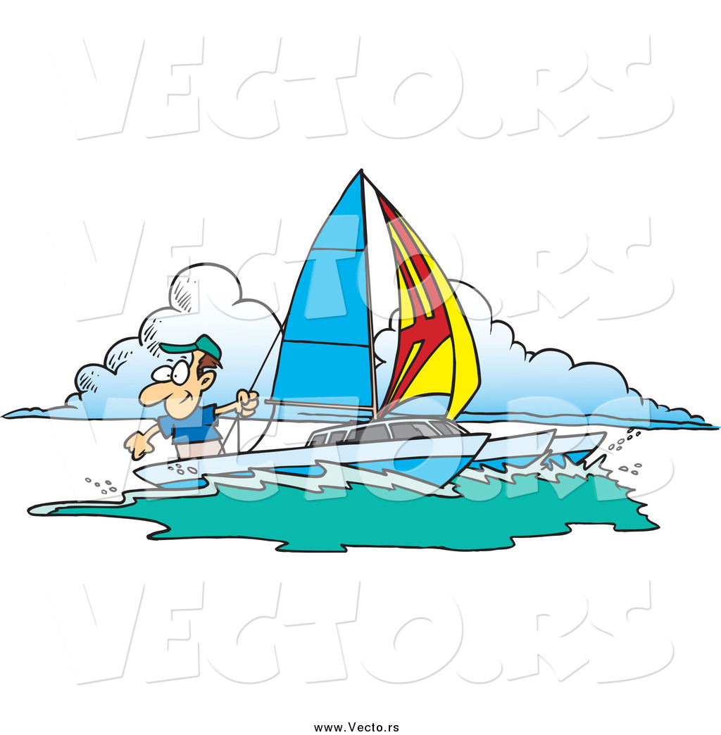 Vector of a Cartoon Happy White Man Sailing a Trimaran by Ron.