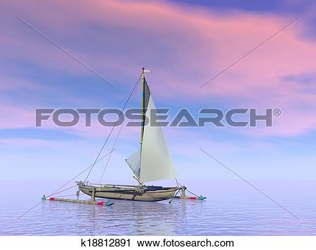 Clipart of Trimaran boat by sunset.
