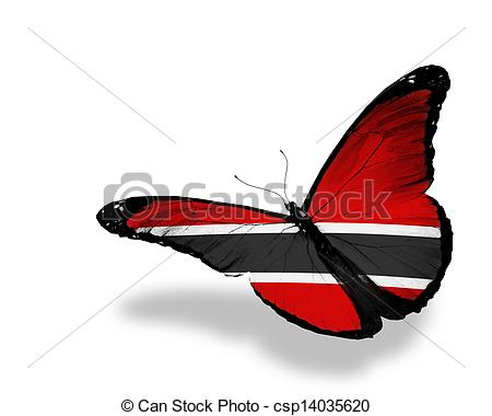 Clip Art of Trinidad and Tobago flag butterfly flying, isolated on.