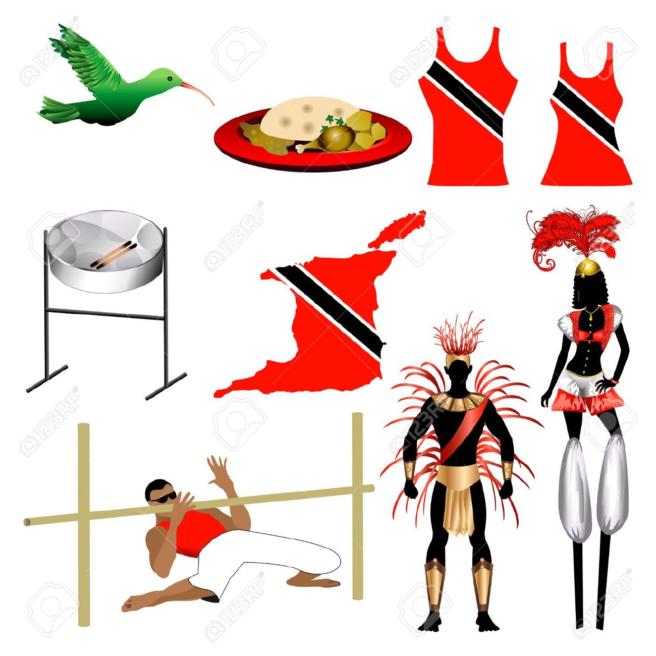 Vector Illustration Of 9 Different Trinidad And Tobago Trini.