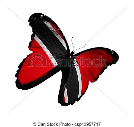 Clipart of Trinidad and Tobago flag butterfly flying, isolated on.
