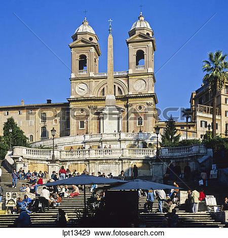 Stock Photograph of Spanish steps and Santissima Trinita dei Monti.