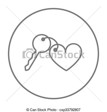 Vector Clipart of Trinket for keys as heart line icon..
