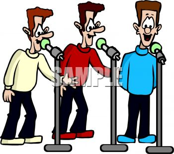 Royalty Free Clip Art Image: Trio of Men Singing in Harmony.