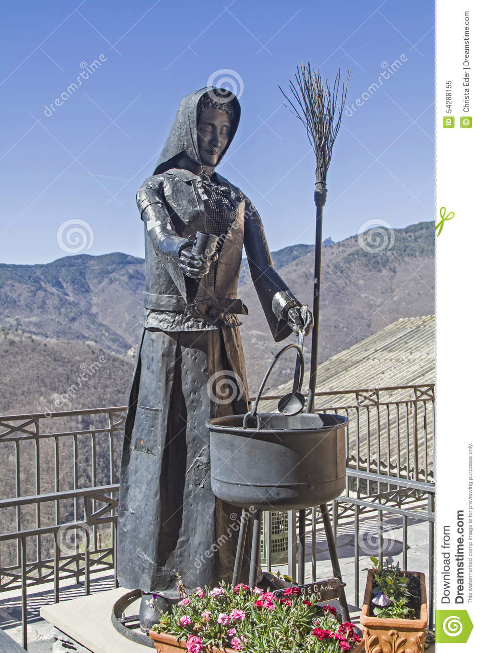 Witches Monument In Triora Stock Photo.