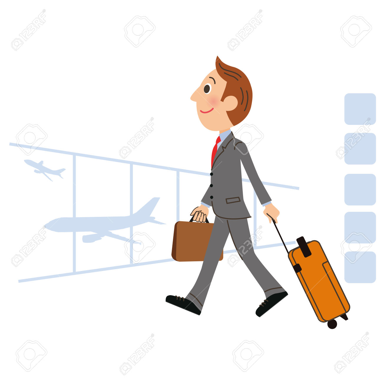 The Man Who Goes On A Business Trip Abroad Royalty Free Cliparts.