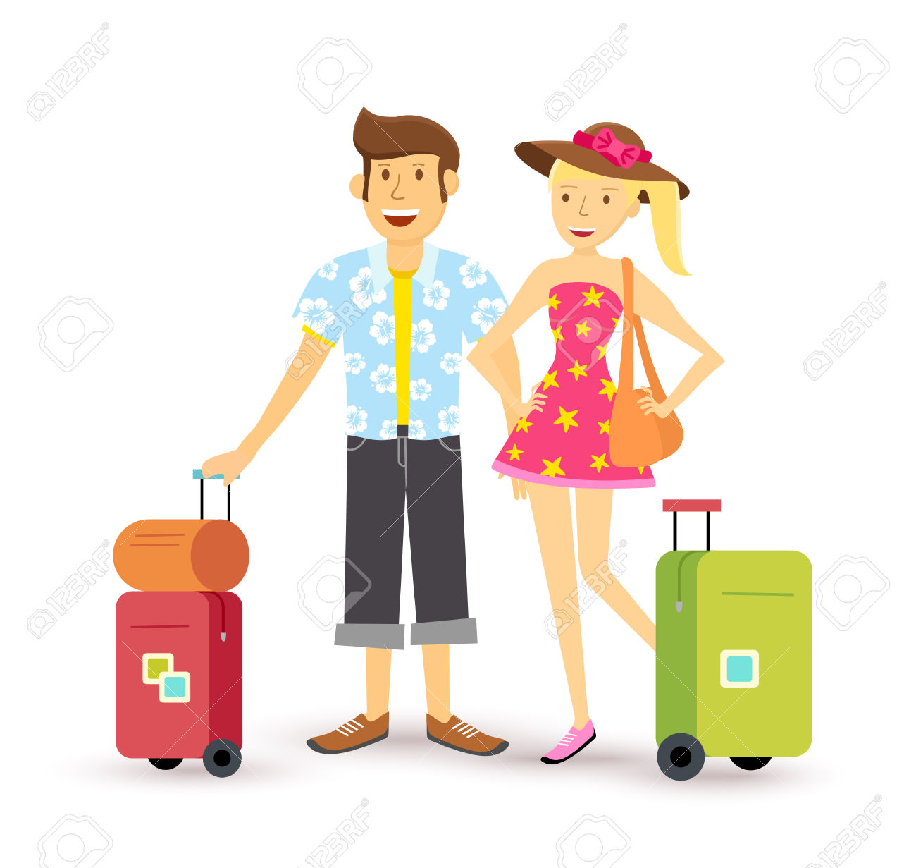 Young Happy Couple Travel Abroad Summer With Suitcase, Family.