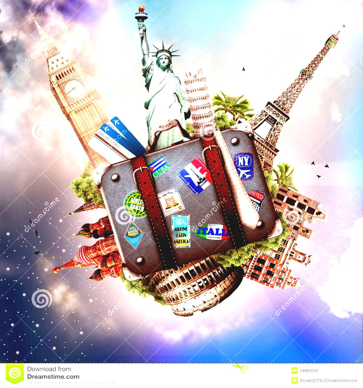 Travel Around The World Clipart And Trip Stock Photography Image.