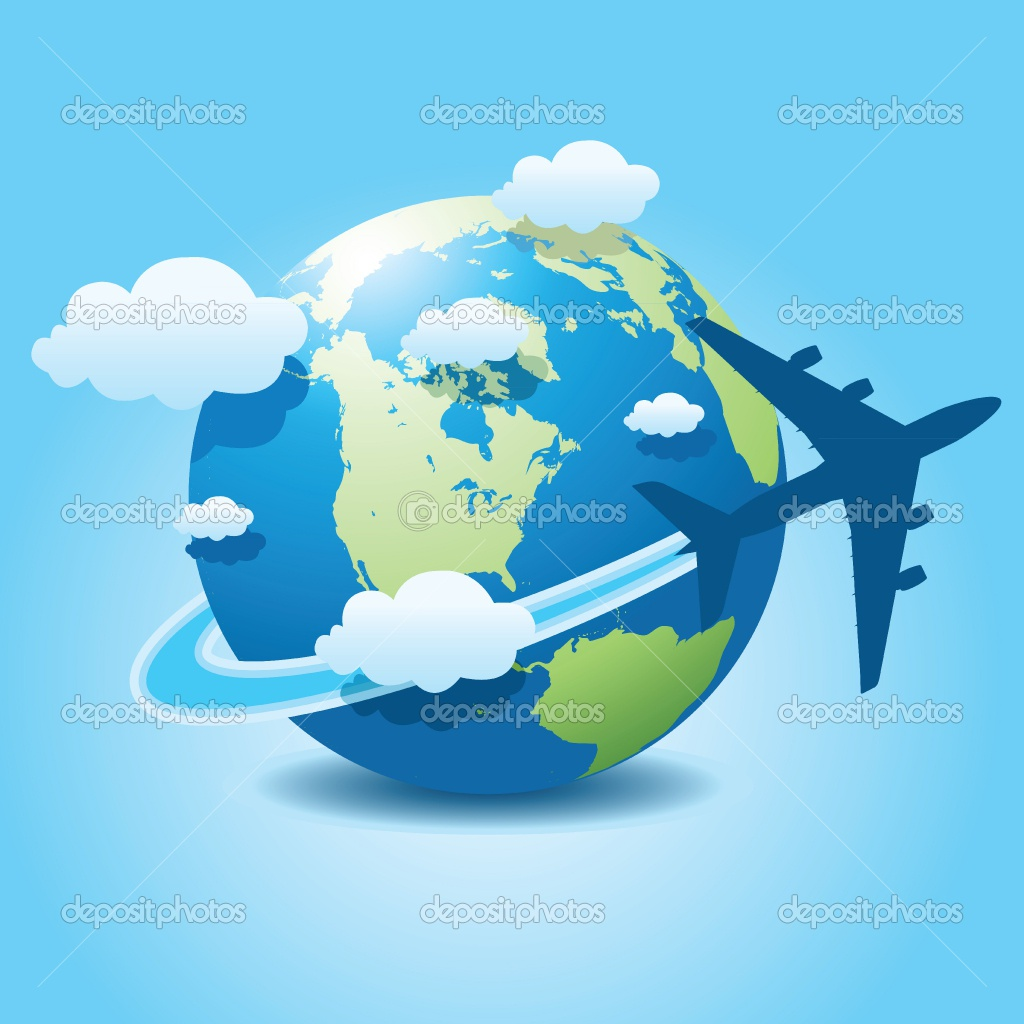Trip around the world clipart.