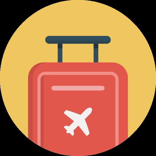 Flight, journey, luggage, suitcase, travel, trip icon.