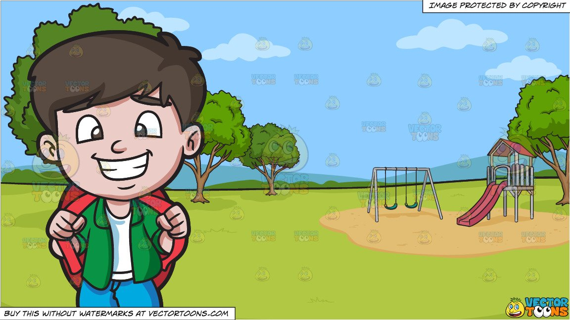A Happy Boy Going On A Weekend Trip and A Park With Slide And Swings  Background.