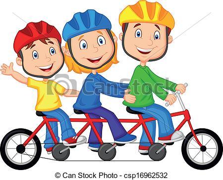 Vectors of Happy family cartoon riding triple.