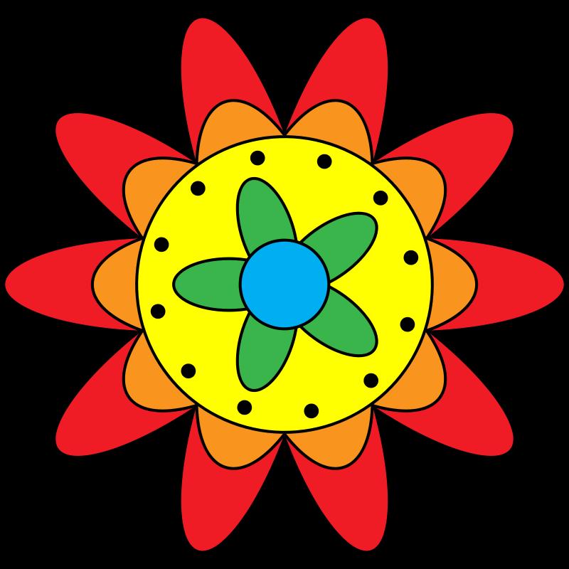 Free Clipart: Triple Flower Doodle.