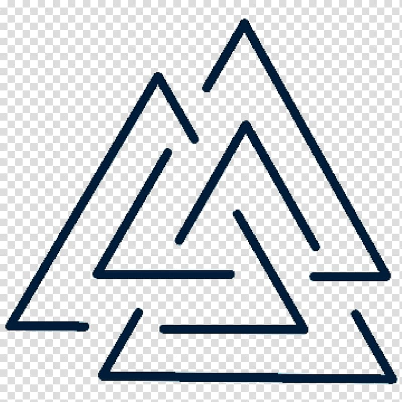 Triple triangle logo, Valknut Tattoo Symbol Odin Geometry.