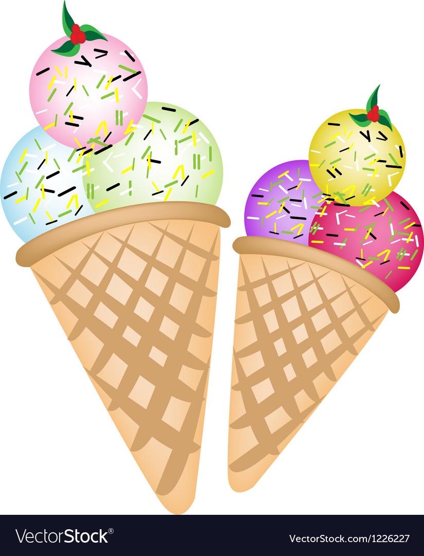 Triple Ice cream Scoops on Two Cones.