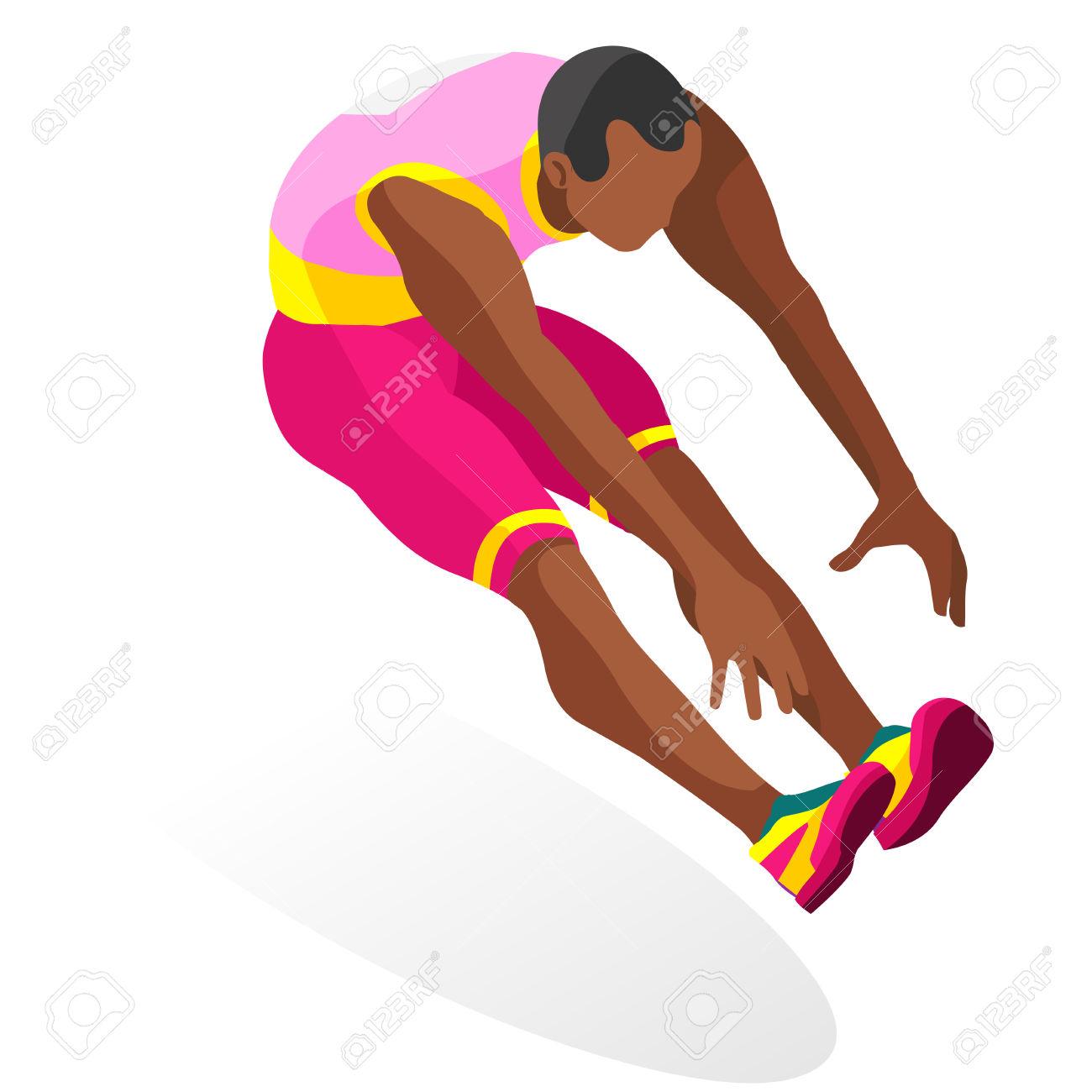 Athletics Triple Jump Summer Games Icon Set.3D Isometric Athlete.