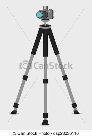 Vector Clip Art of DSLR Camera on Tripod Vector Illustration.