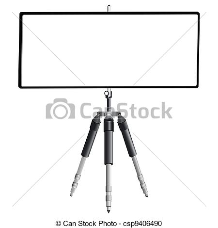 Vector Clipart of tripod and empty banner against white background.