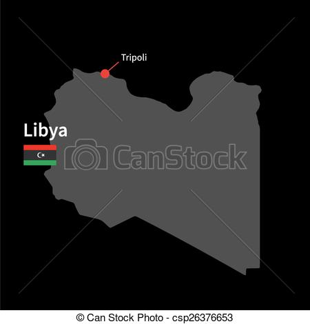 Clipart Vector of Detailed map of Libya and capital city Tripoli.