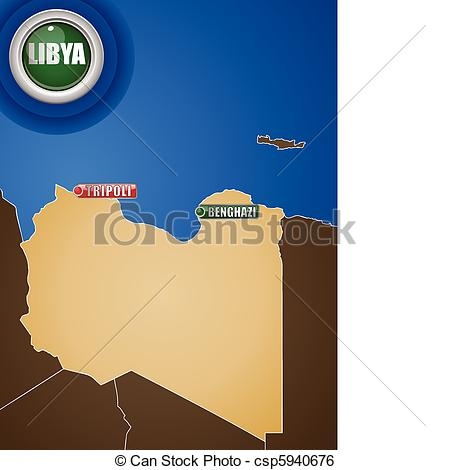 Clip Art Vector of Libya War Map with Cities Tripoli and Benghazi.