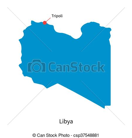 Vector of Detailed vector map of Libya and capital city Tripoli.