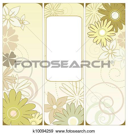 Clip Art of Floral triptych k10094259.