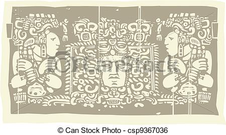 Clip Art Vector of Maya Triptych Woodblock C.