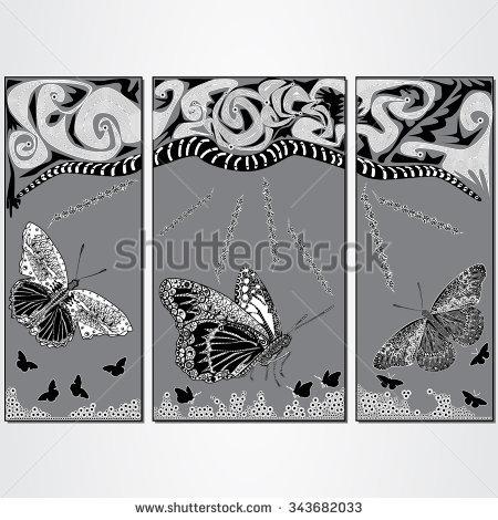 Triptych Floral Stock Vectors & Vector Clip Art.