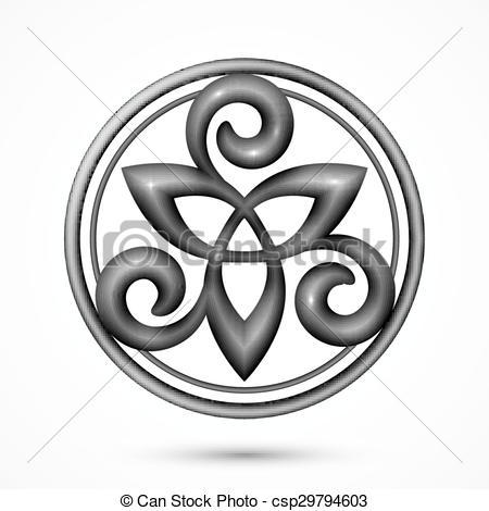 Vector Clipart of Vector stone celtic triskel symbol.