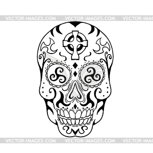 Mexican Skull Triskele Celtic Cross Tattoo.