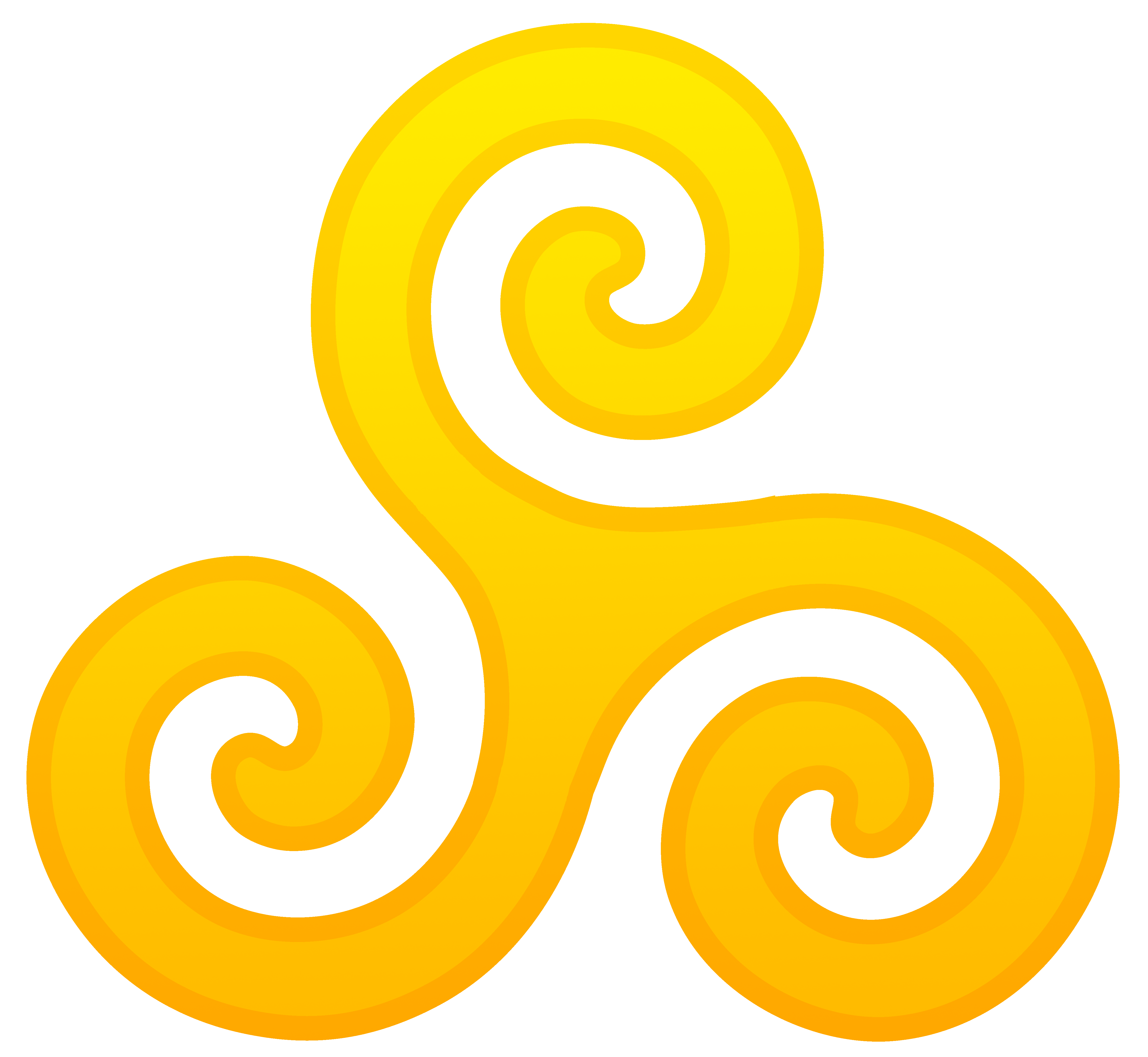 Golden Triskelion Symbol.
